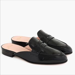 J. Crew Academy Penny Loafer Black Leather Mules